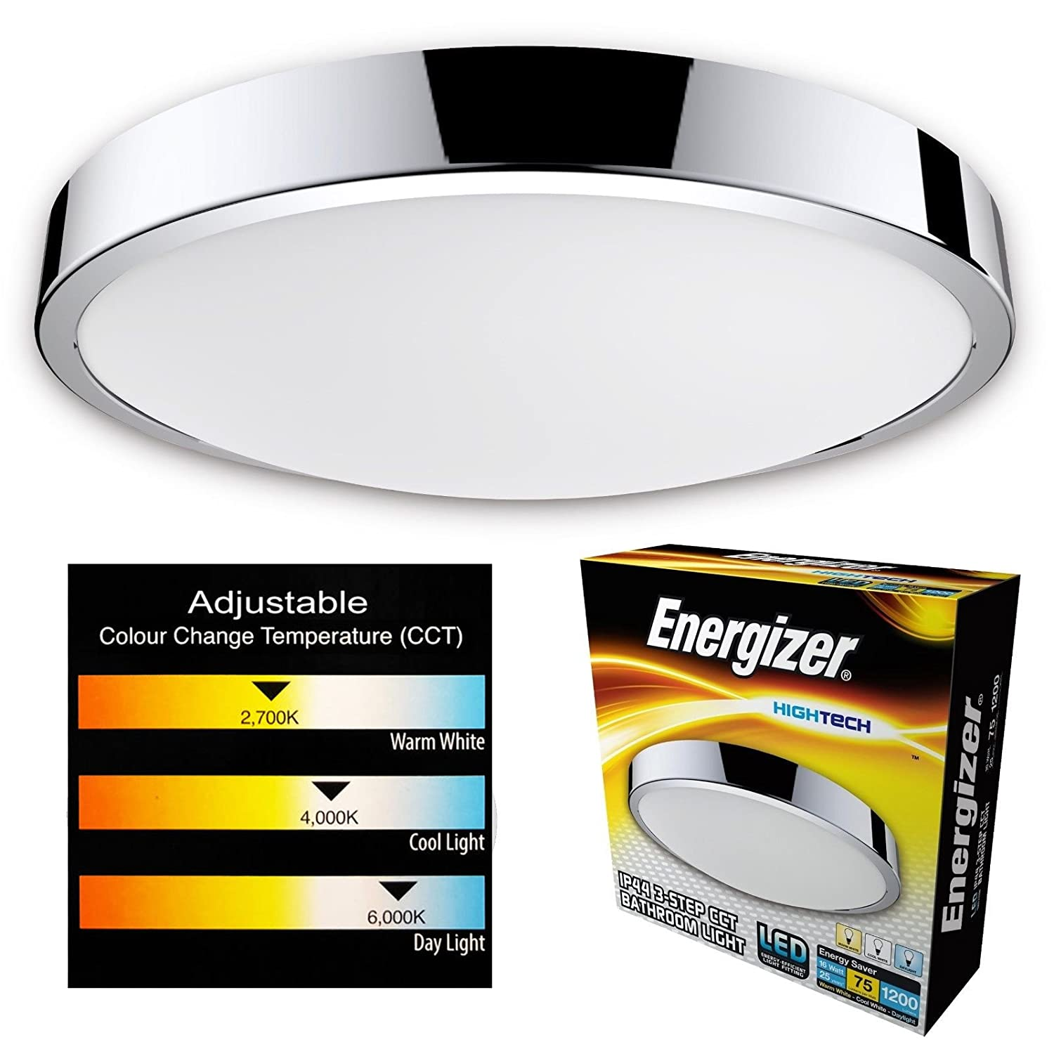 Energizer Led Bathroom Ceiling Light Cct Waterproof Ip44 Colour Wiring A Fitting Temperature Changing Switch From