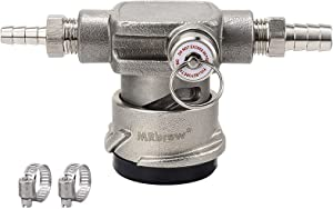 MRbrew All Stainless Steel Low Profile Keg Coupler, Sankey D System Coupler with Safety Pressure Relief Valve, Space Saving Keg Tap Coupler with 1/4'' Beer Barb Out & 3/8'' Gas Barb In & Hose Clamp