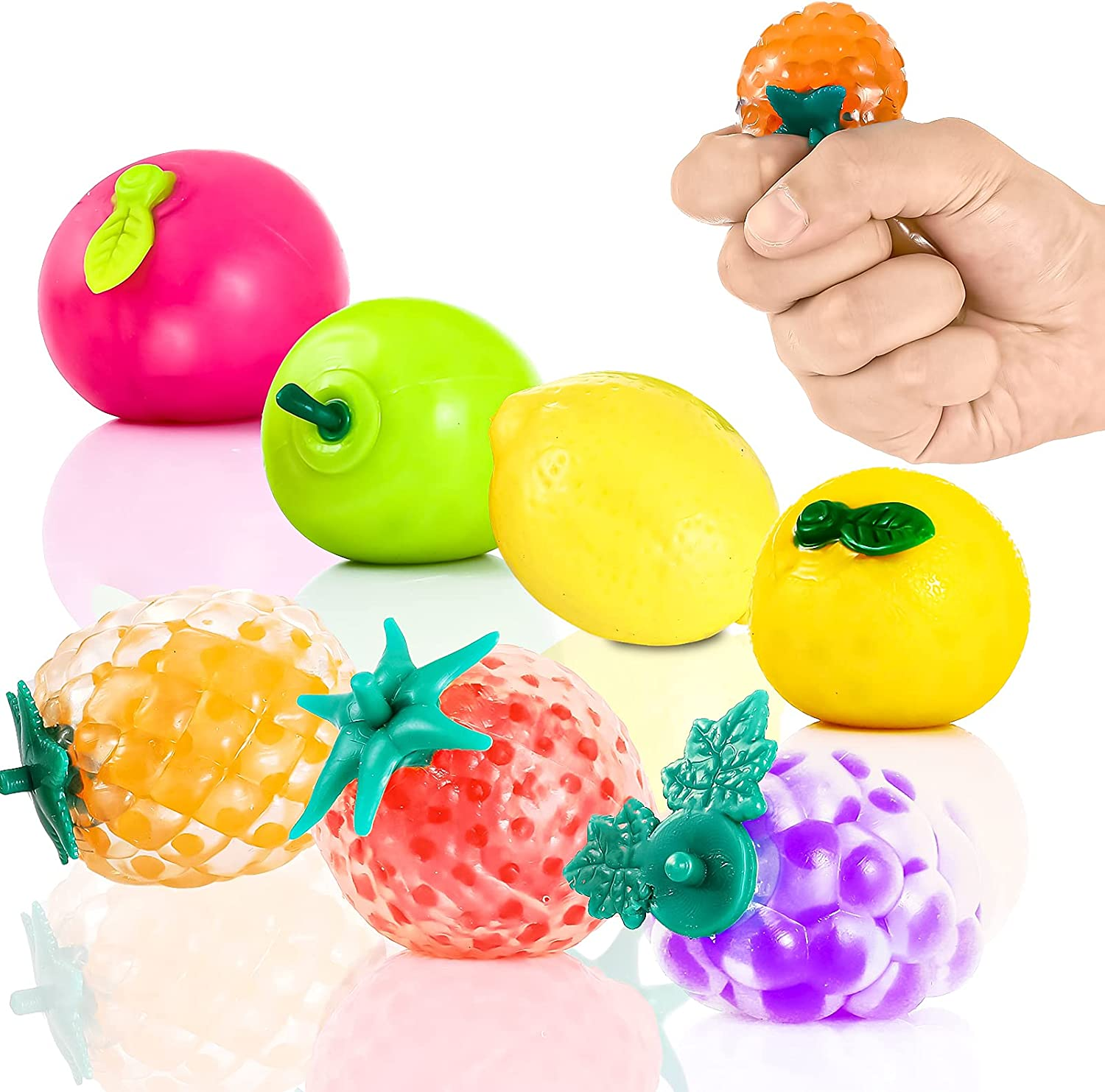 Squeeze Balls Fidget Toy, Water Beads Filled Sensory Stress Balls for Kids & Adults - 7PCs Cute Fruit Stress Anxiety Relief Ball for Autism, ADHD, OCD