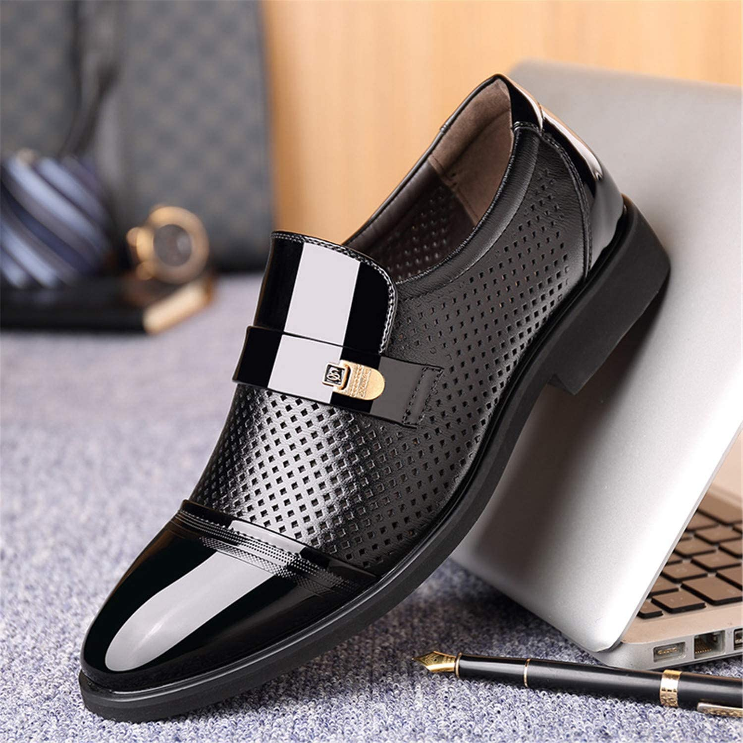 Sonjer New Summer Men Hollow Out Men Formal Shoes Men Microfiber Leather Quality Shoes Breathable Men Shoes for Business
