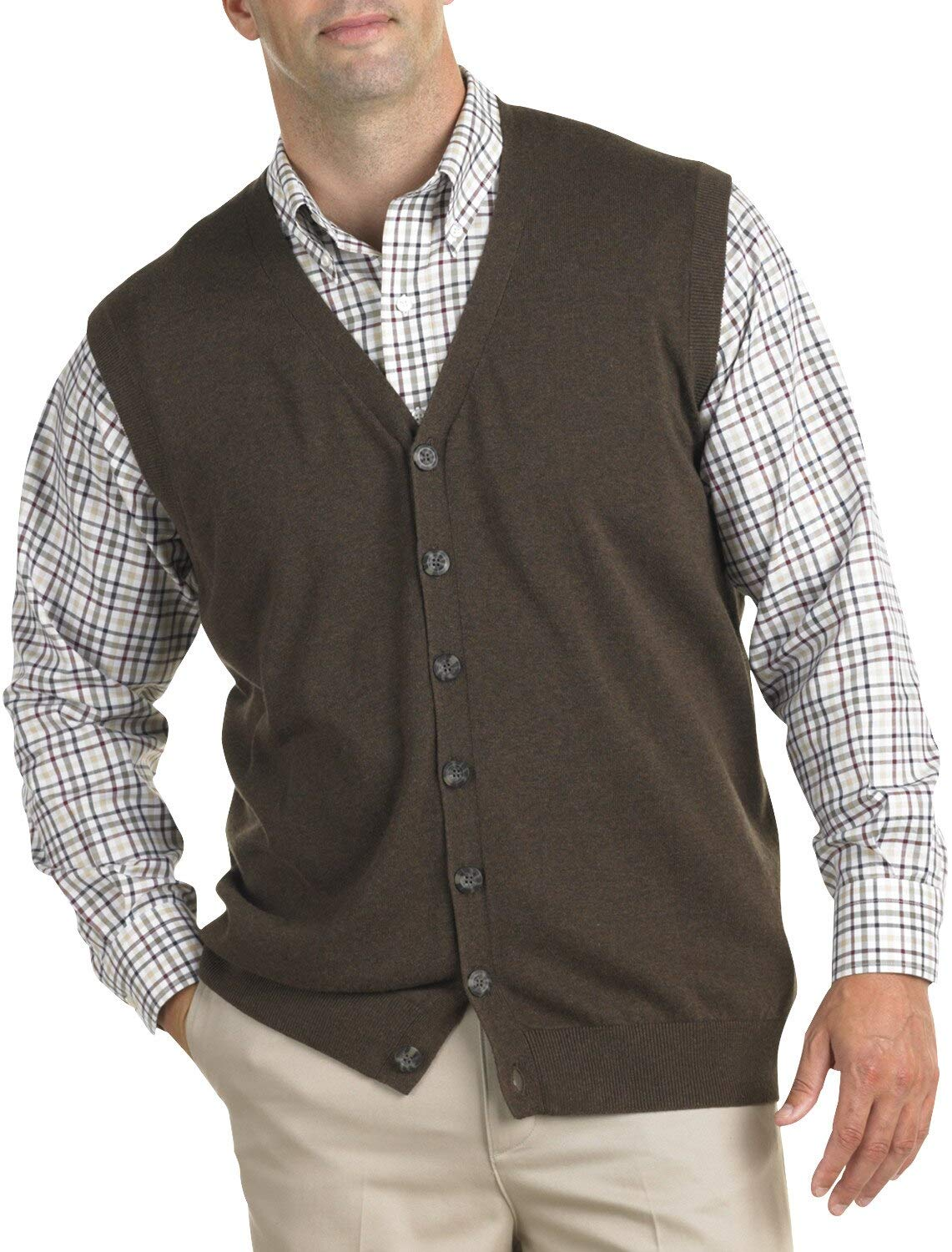 Oak Hill by DXL Big and Tall Button-Front Sweater Vest, Java Heather, 4XLT by Oak Hill