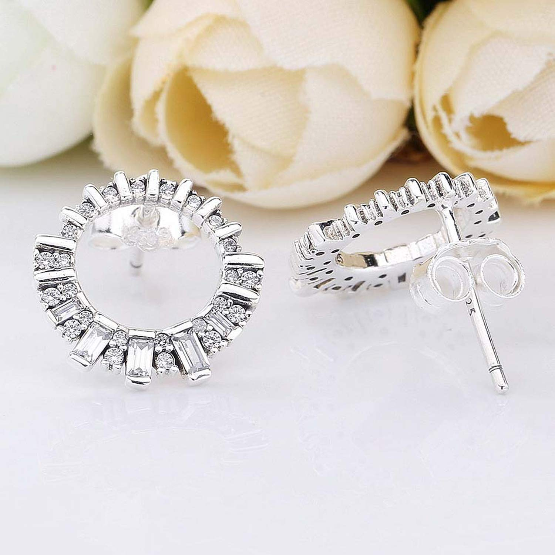 New 925 Sterling Silver Earring Women Glacial Beauty With Crystal Stud Earrings For Women Wedding Gift Europe Jewelry