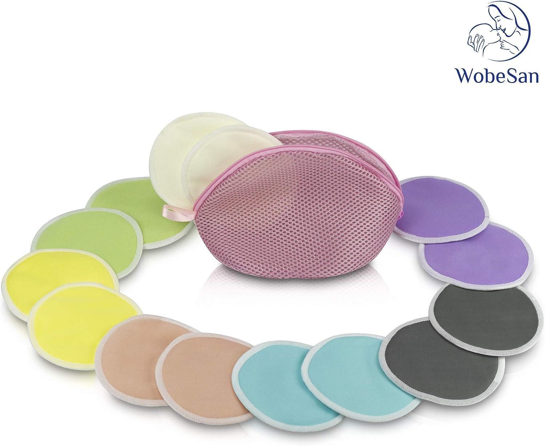 besonders weich und hautfreundlich WobeSan 14 Bambus Stilleinlagen in 7 Farben mit praktischem W/äschebeutel optimaler Schutz durch saugstarken Kern waschbar von Hebammen empfohlen