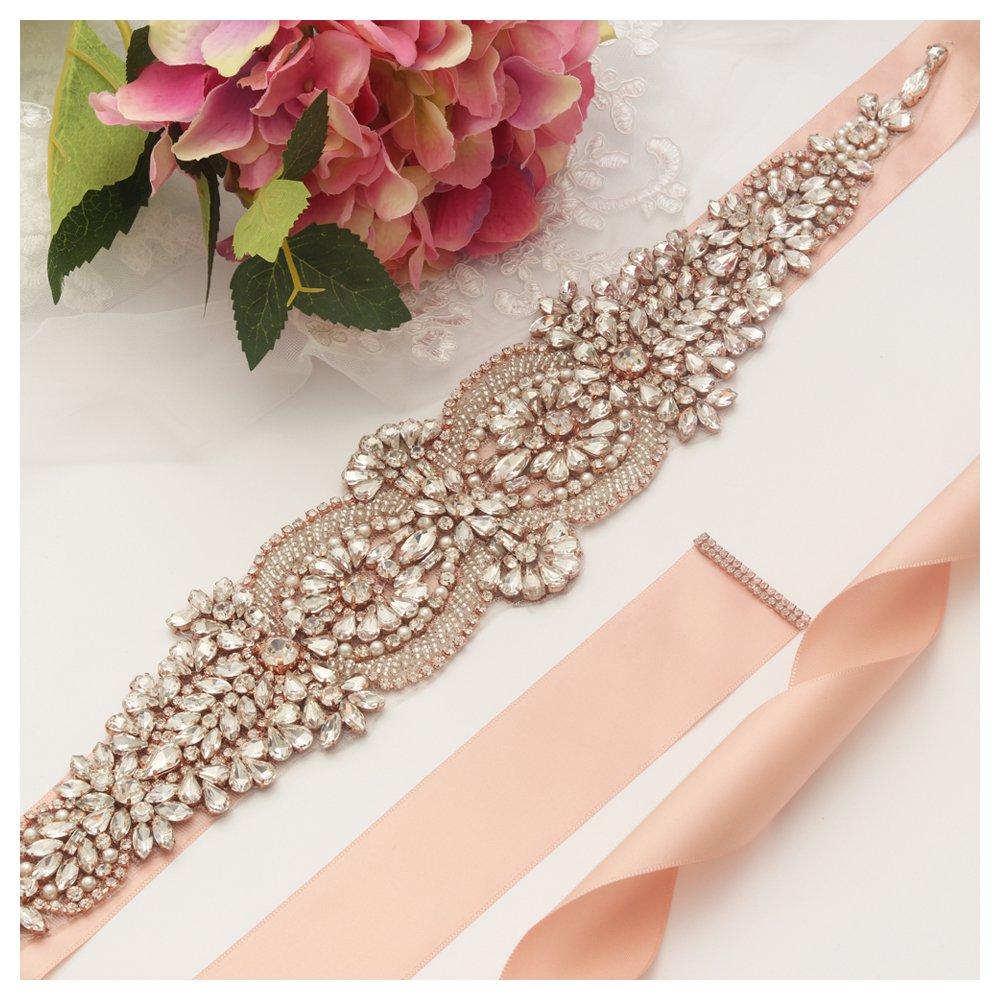 Yanstar Rose Gold Beads Wedding Bridal Belt Sash with Blush Ribbon for Bridesmaid Dress