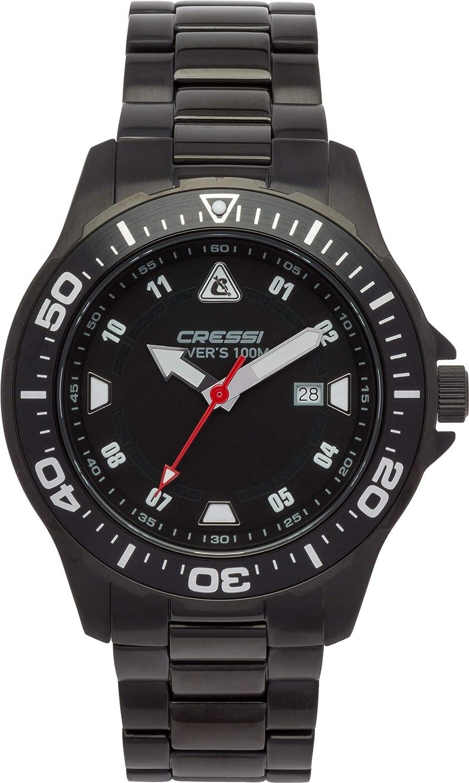 Cressi Manta Watch Reloj Submarino, Correa de Acero INOX Negro, Uni: Amazon.es: Deportes y aire libre