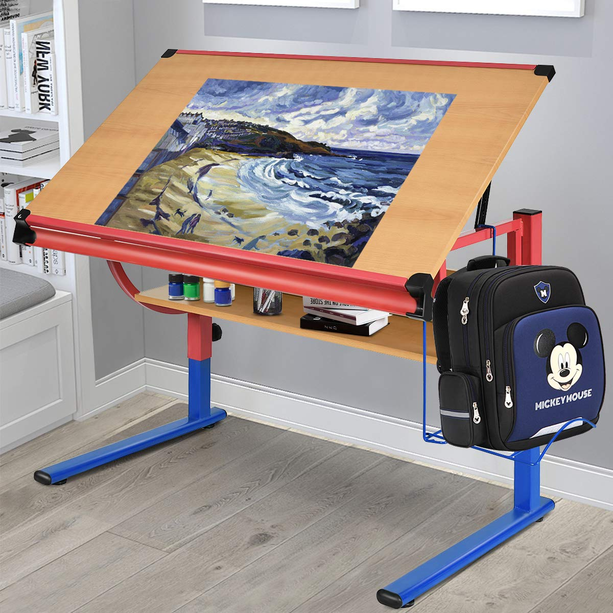 Tangkula Drawing Desk Adjustable Drafting Table Art & Craft Hobby Studio Home Office Furniture