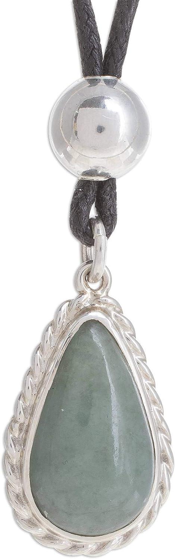 "NOVICA Jade .925 Sterling Silver Pendant Necklace, 13"", Colonial Drop in Apple Green'"