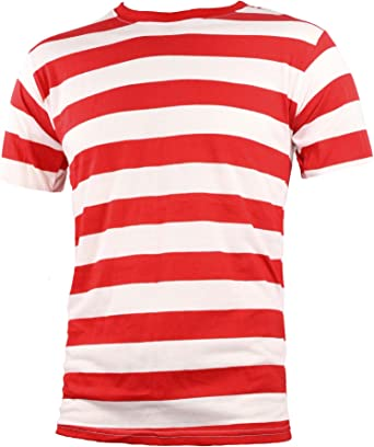 Camiseta de adulto de manga corta para hombre de rayas, color rojo y blanco