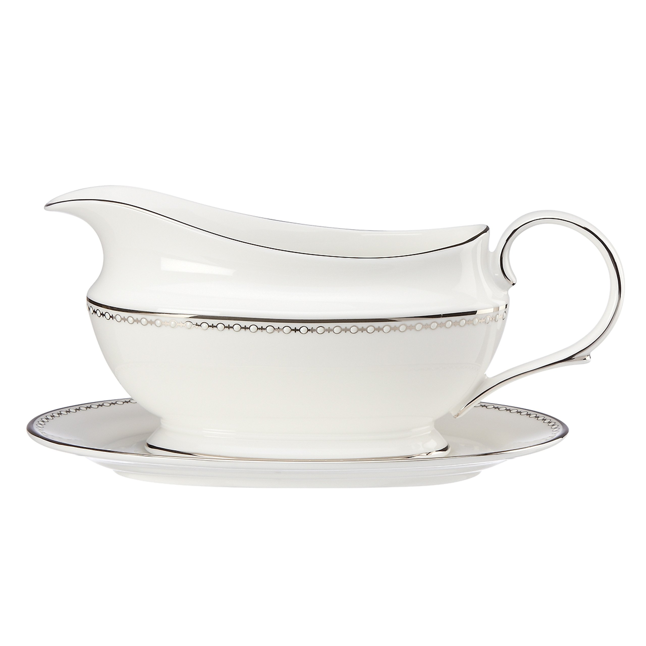 Lenox Pearl Platinum Sauce Boat and Stand, White by Lenox