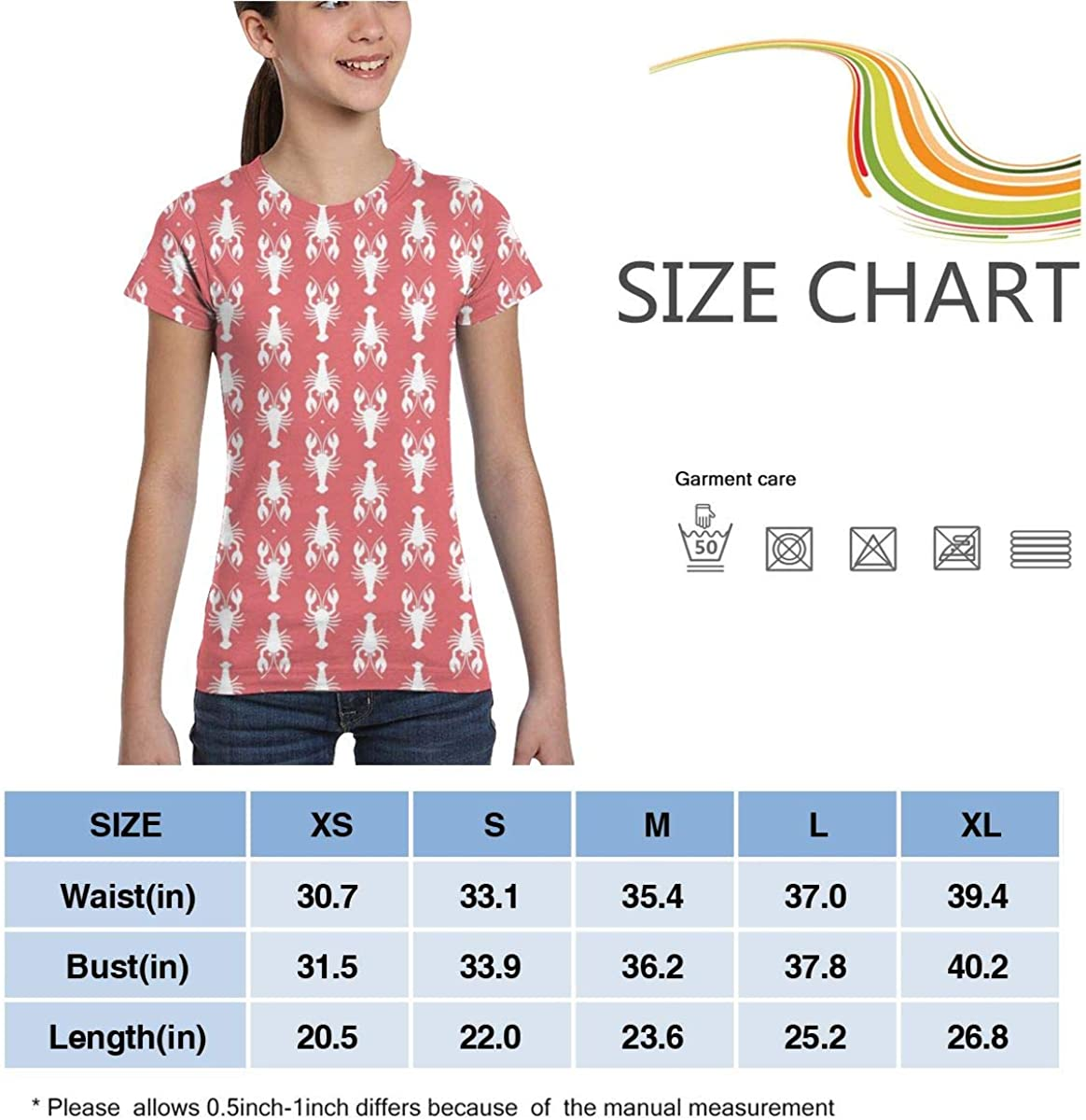 Casual Blouse Clothes L6Nv4o@A Girls Short Sleeve Little Crayfishes Shirts XS-XL