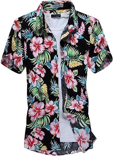 YuanDian Hombre Tallas Grandes Hawaianas Camisas Manga Corta con Estampado Floral Aloha Tropical Funky Vacaciones Playa Gran Tamaño Blusas Ajuste ...