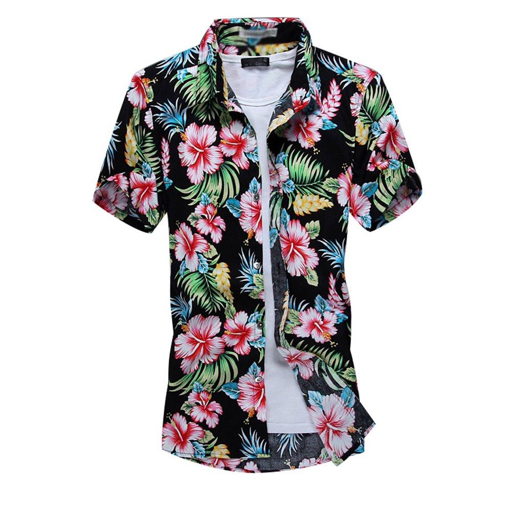 YuanDian Uomo Taglia Grossa Hawaiane Manica Corta Camicie Stampato Fantasia Floreale Tropicali Aloha Funky Vacanza Spiaggia Oversize Taglia Grossa Stretch Camicette Shirts
