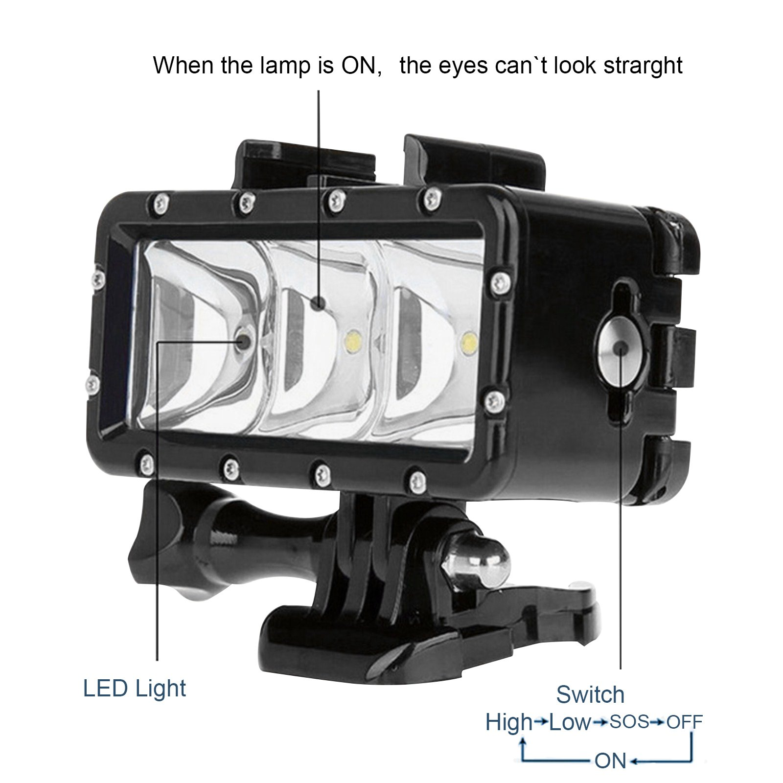 SHOOT Waterproof 30m Diving Light High Power Dimmable LED Underwater Fill Light for GoPro Hero 6/5/5S/4/4S/3+,Campark AKASO DBPOWER Crosstour SHOOT Camera with 1200mAh Built-in Rechargeable Battery by SHOOT (Image #3)