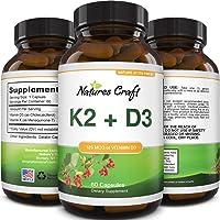 Vitamin D3 with K2 MK7 Supplement - Vitamin D3 5000 IU Capsules and Vitamin K2 for Immune Support Bone Health Heart…
