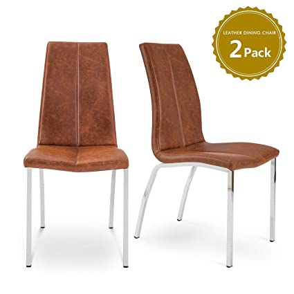 Life Carver Set Of 2 Leather Dining Chairs High Back Modern Design Retro Premium Quality Faux Leather Upholstered Chair For Kitchen Dining Room