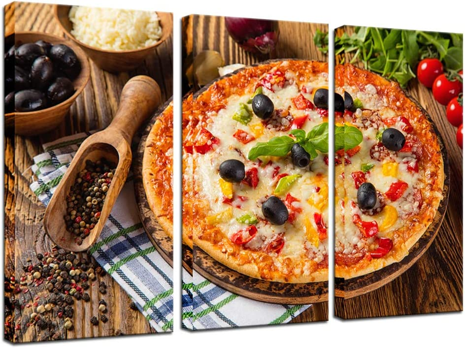Biuteawal Food Canvas Wall Art Fresh Pizza with Spices and Tomatoes Painting The Picture Print on Canvas 3 Pieces Artwork for Home Kitchen Restaurant Wall Decoration Stretched Ready to Hang