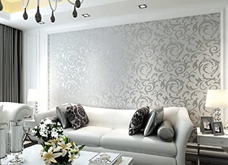 Sliver High Quality 10 Meter 32 8 Feet Damask Victorian Embossed Wallpaper Roll Brilliant Rooms Brand Double Roll