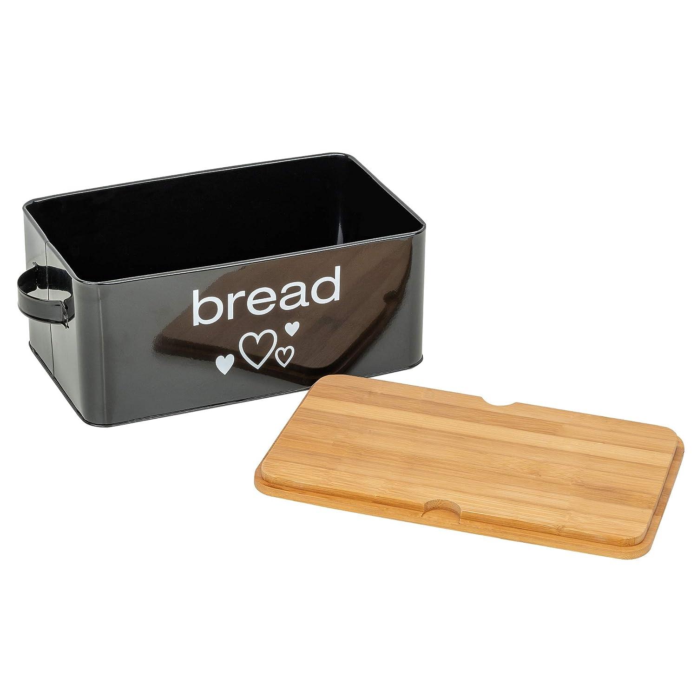 Caja de pan de metal con tabla de cortar color negro 33 x 18 x 12 cm