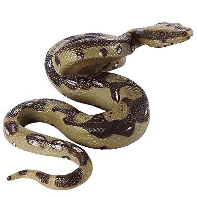STOBOK Realistic Snake Toy Fake Snake Figure Rubber Python Model Garden Props for Halloween Decor: Toys & Games