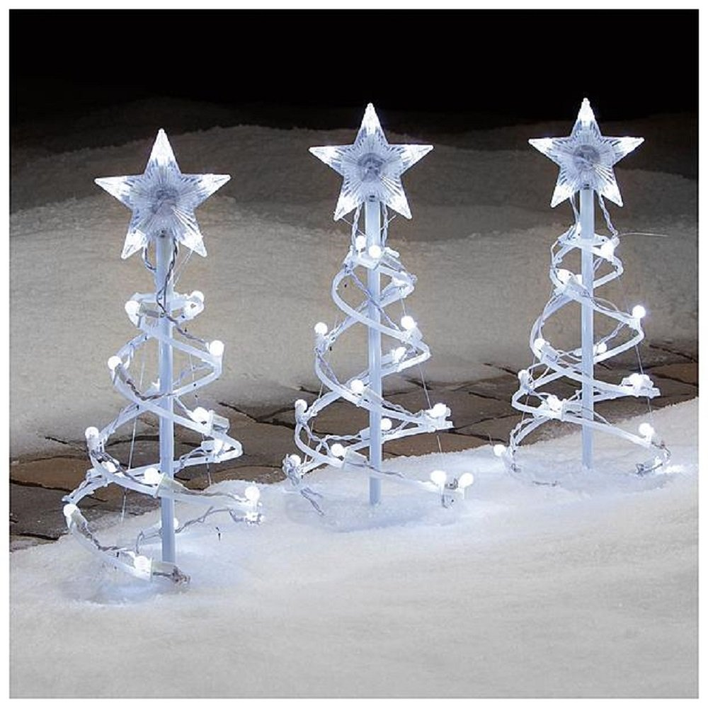 Amazon christmas 3 pc 18 spiral tree pathway marker with amazon christmas 3 pc 18 spiral tree pathway marker with white led lights garden outdoor aloadofball