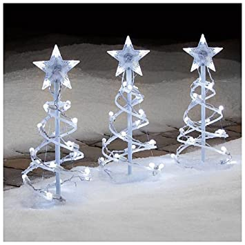 Amazon christmas 3 pc 18 spiral tree pathway marker with christmas 3 pc 18quot spiral tree pathway marker with white led lights aloadofball Images