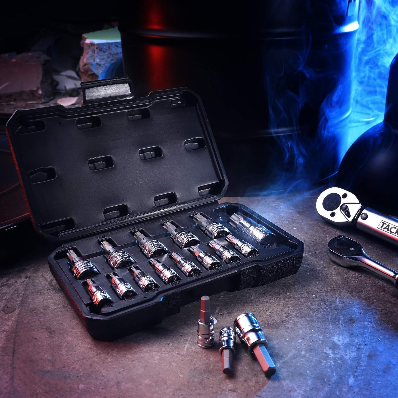 TACKLIFE 14-Piece Torx Bit Socket Set T8 T60 S2 Alloy Steel Bit Cr-V Steel Socket High Cost Performance,TBS1A