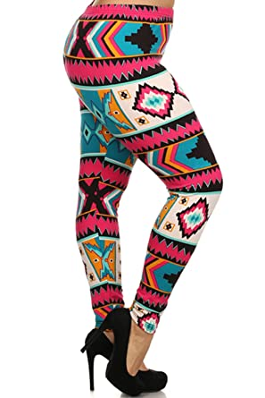 Always Womens Junior Plus Size Fleece Lined Tribal Print Stretch Fit Leggings At Amazon Clothing Store