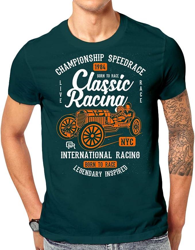Elbster Camiseta impresa camisa clásica de carreras con motivo de coches de época para hombres: Amazon.es: Ropa y accesorios