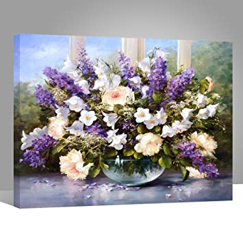 Wood frame paint by numbers diy oil painting purple and white wood frame paint by numbers diy oil painting purple and white flowers canvas print wall mightylinksfo