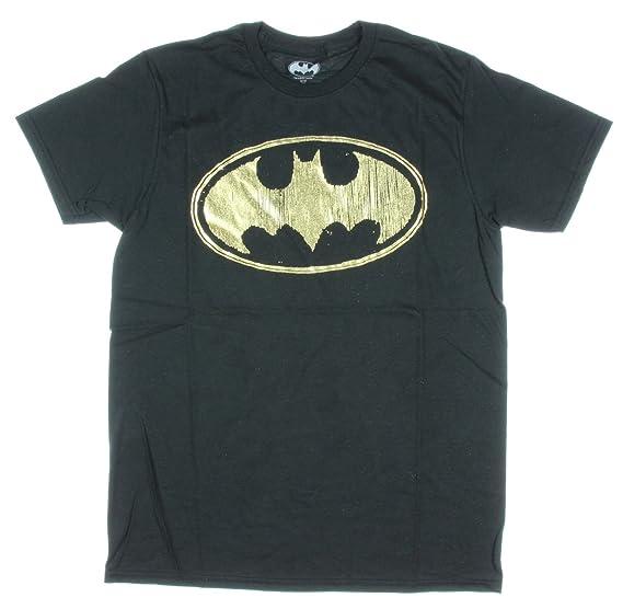 6813504ea79 Amazon.com: DC Comics Batman Men's Gold Foil Logo T-Shirt Black ...