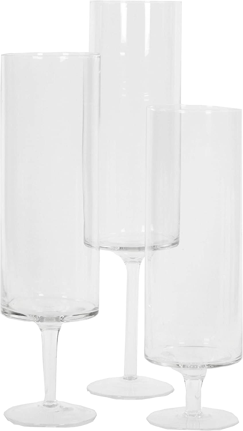 Koyal Wholesale Pillar Candle Hurricane Pedestal Holders, Tall Glass Pedestal Candle Holders Centerpiece, Wedding Glass Stem Hurricanes Set of 3 (Clear, 3.7 x 11.8, 13.7, 15.7)