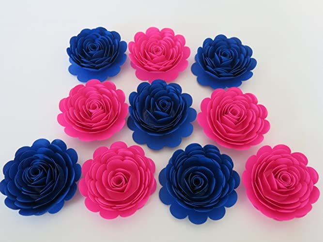 Amazoncom Hot Pink and Royal Blue Paper Flowers Gender Reveal