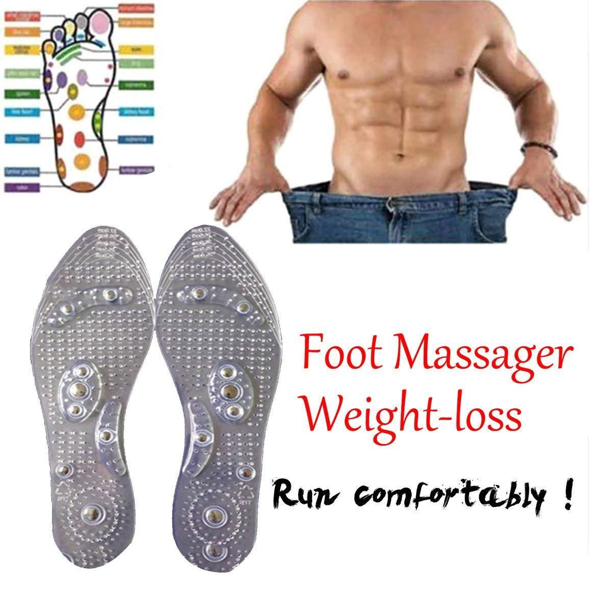 Garciasia Terapia magn/ética Plantillas adelgazantes para Perder Peso Masaje de pies Cuidado de la Salud Zapatos Mat Pad Acupuntura Plantilla de Masaje Suela Color: Transparente Tama/ño: 27CM