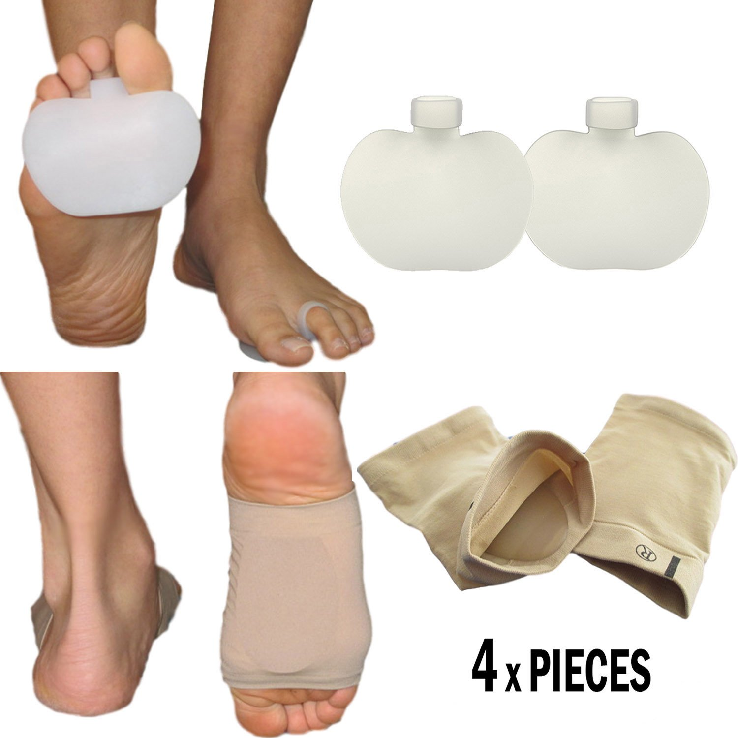 Metatarsal Foot Pads Bunion Sleeve - Forefoot Ball Insole for Mortons Neuroma, Metatarsalgia and Sesamoiditis (Fits Most)