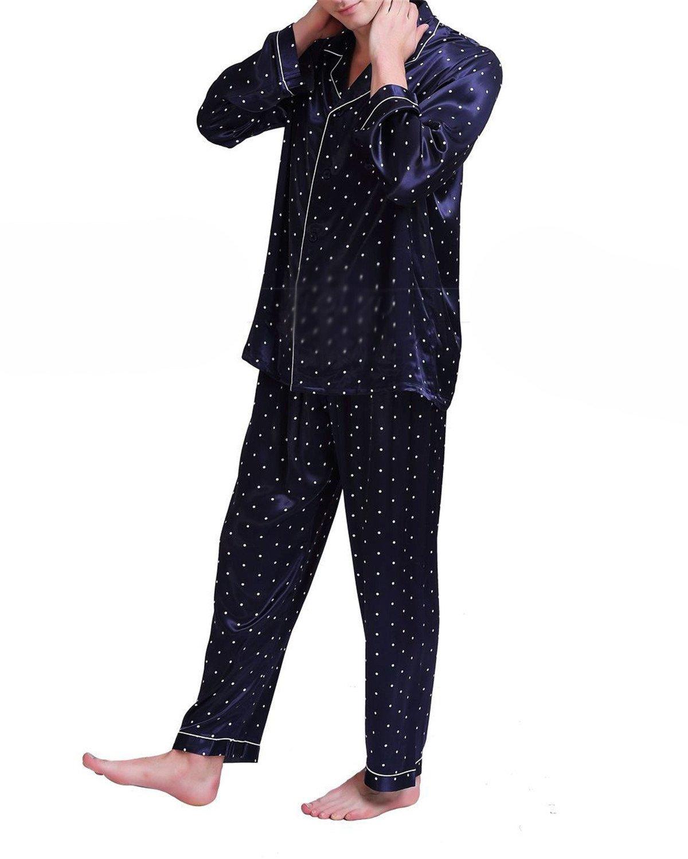 Susan1999 Mens Silk Satin Pajamas Set Sleepwear Set Loungewear U.S,S,M,L,XL,XXL,4XL Plus Navy Blue L