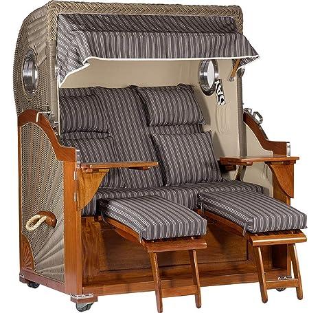 Caseta de playa de caoba de Trendyshop365, 2,5 plazas, totalmente reclinable,
