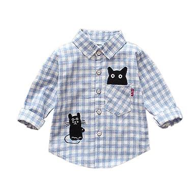 83f565ea3c2e ALLAIBB Baby Unisex Shirts Black Cartoon Animal Pattern Pink Blue Plaid  Long Sleeve Cotton Top  Amazon.co.uk  Clothing