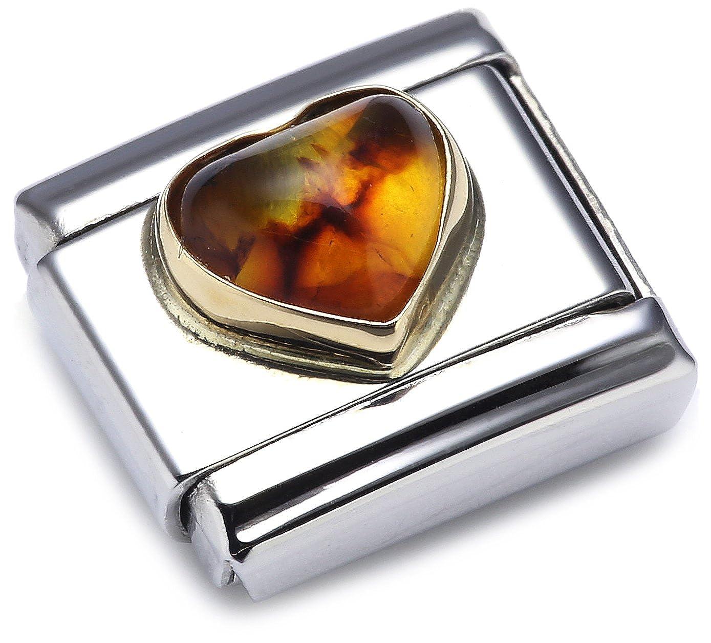 Nomination 030501 - Maillon pour bracelet composable Mixte - Coeur - Coeur - Acier inoxydable et Or jaune 18 cts