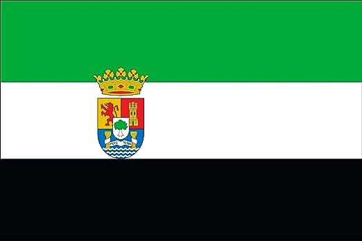 Durabol Bandera de Extremadura Comunidades autónomas de España 60 * 90 cm Satin 2 Anillas metálicas fijadas en el Dobladillo: Amazon.es: Jardín