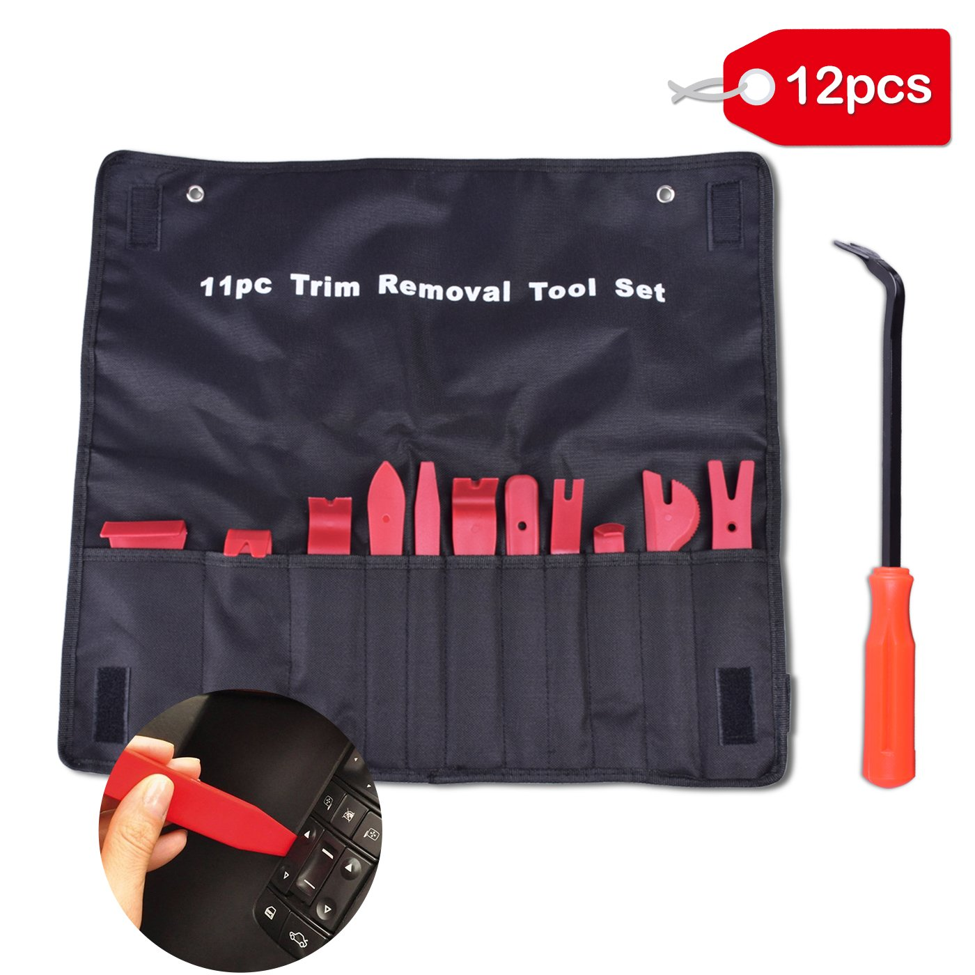 MINLUK Trim Removal Tool, 12PCS Auto Trim Removal Pry Tool Set Kit Interior DIY with Fastener Remover for Car Auto Window Door Panel Molding Radio Audio Repair and Install