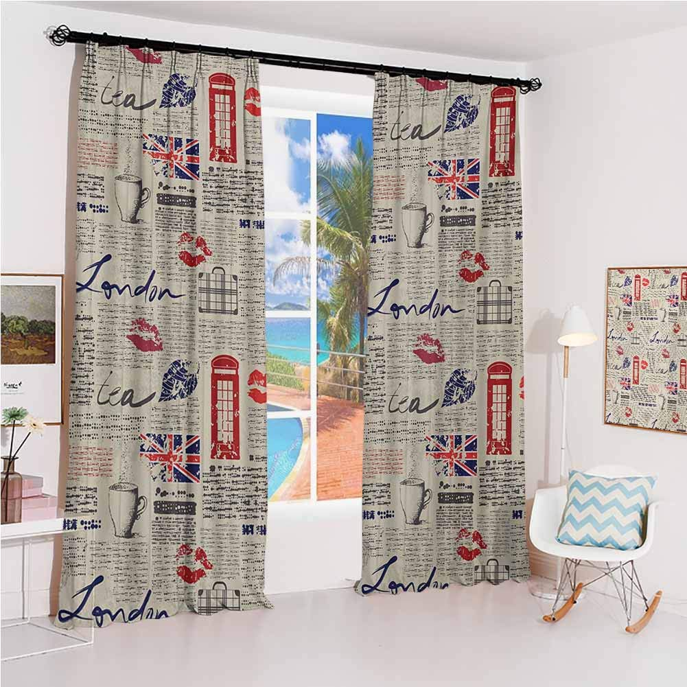 Tea Party Hook up Curtain London Newspaper Inspired Background with Grunge Elements Kiss Marks for Bedroom Kindergarten Living Room W84 x L84 Inch Beige Navy Blue Red