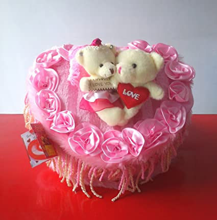 Pink Heart Shaped Royal Plush Bed With Love Couple Teddy Bears