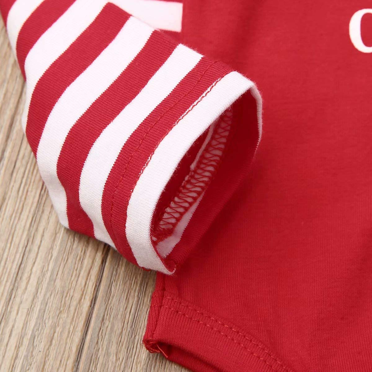 Christmas Newborn Infant Baby boy Girl Clothes Outfit Long Sleeve Romper Pajama+Striped Headband Set