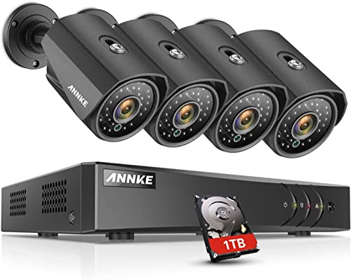 ANNKE H.264 Security Camera System 8CH 1080P Lite Wired DVR and 4 1080P Weatherproof CCTV Cameras for Outdoor Indoor Use, Email Alert with Snapshots, 1TB Hard Drive