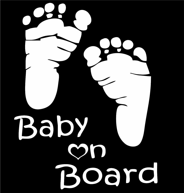 LeSo  S045 Baby on Board Autocollant pour Voiture Motif Empreintes de Pieds Blanc