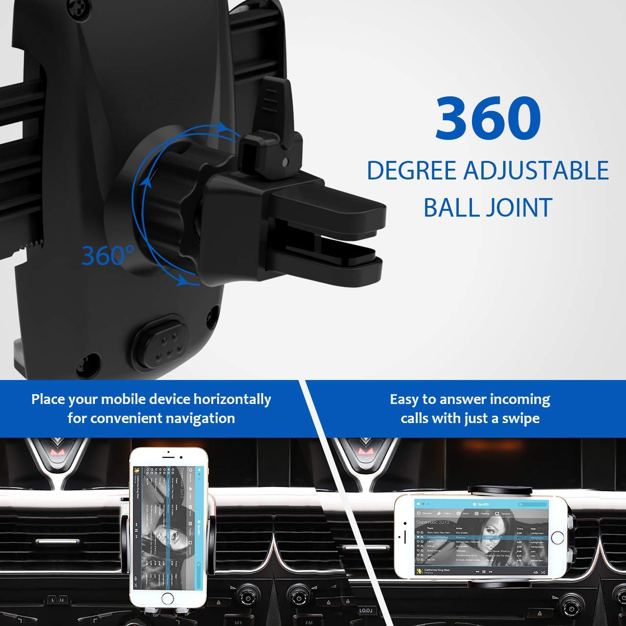 Universal Smartphone Car Phone Mount,360 Rotation and Release Button Air Vent Mount Holder Cradle for iPhone Xs//XS MAX//XR//X//8//8Plus//7//7Plus//6s,Galaxy S7//S8//S9,Google Nexus,Huawei,etc
