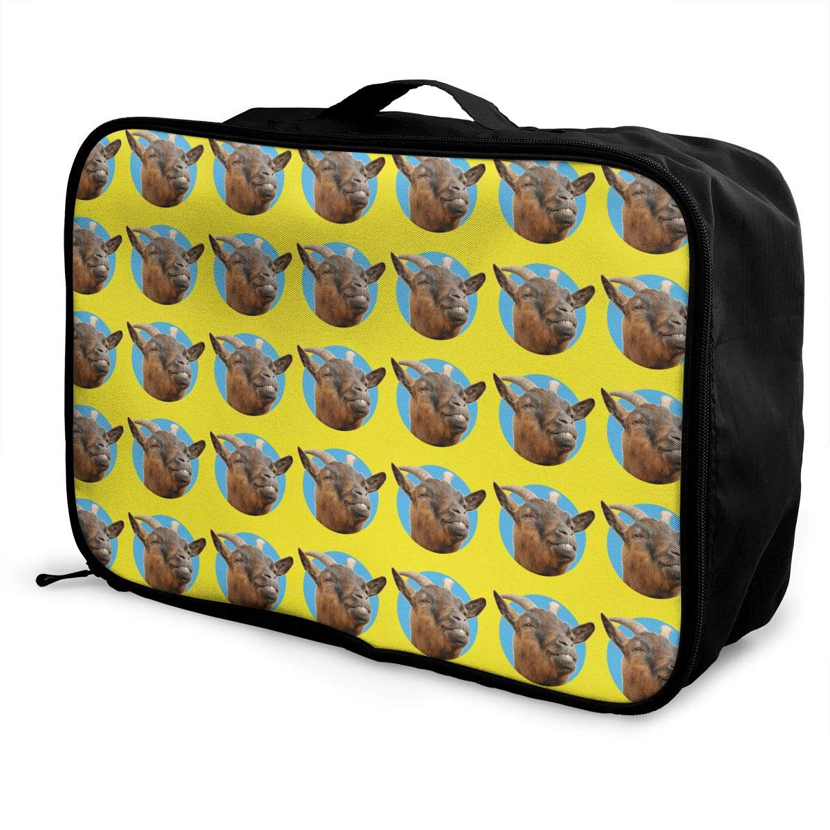 YueLJB Happy Goat Head Pattern Lightweight Large Capacity Portable Luggage Bag Travel Duffel Bag Storage Carry Luggage Duffle Tote Bag
