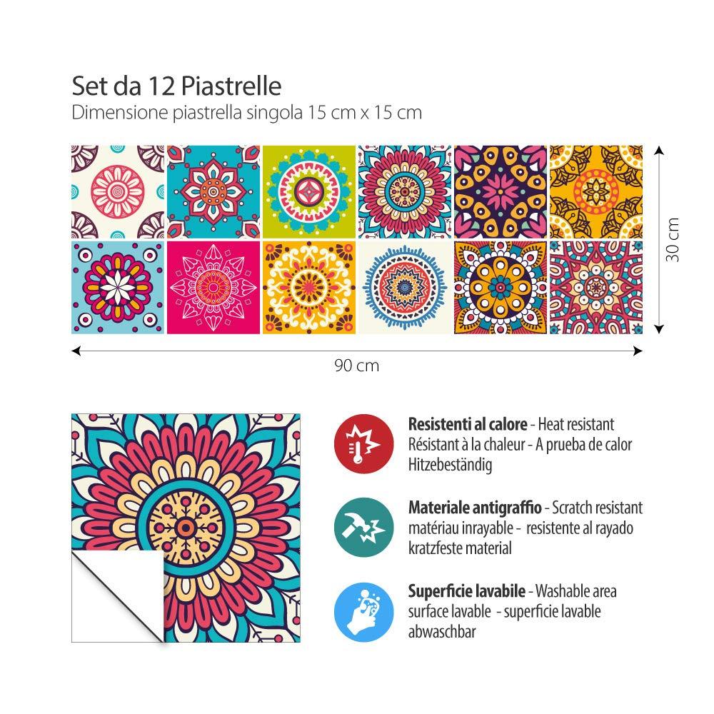 Made in Italy PS00146 Adh/ésive d/écorative /à Carreaux pour Salle de Bains et Cuisine Stickers carrelage 10 Pieces 20x20 cm Stickers Design