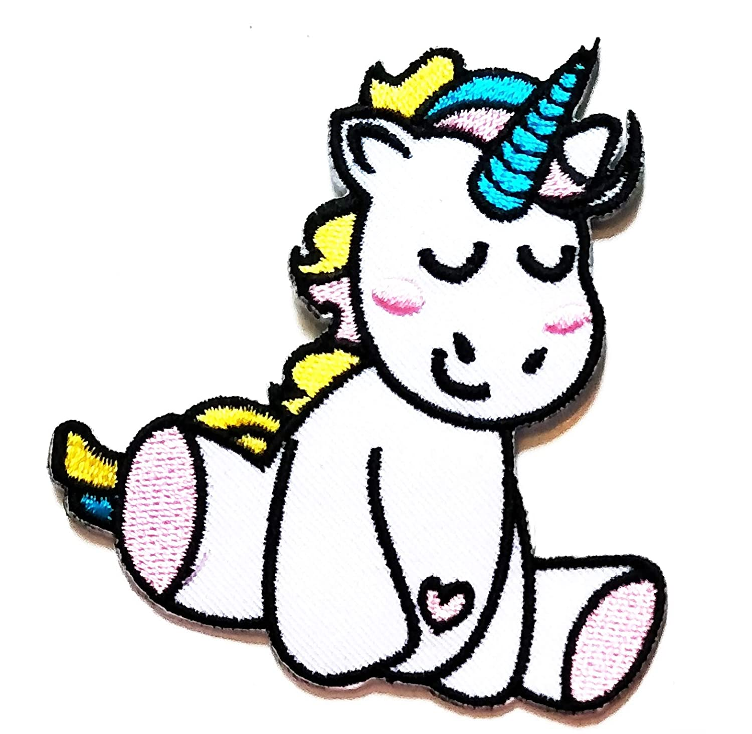 3'' X 3.2'' Cute Unicorn Horse sit Cartoon Kids Logo Jacket t-Shirt Jeans Polo Patch Iron on Embroidered Logo Sign Badge Comics Cartoon Patch by Tour les jours Shop
