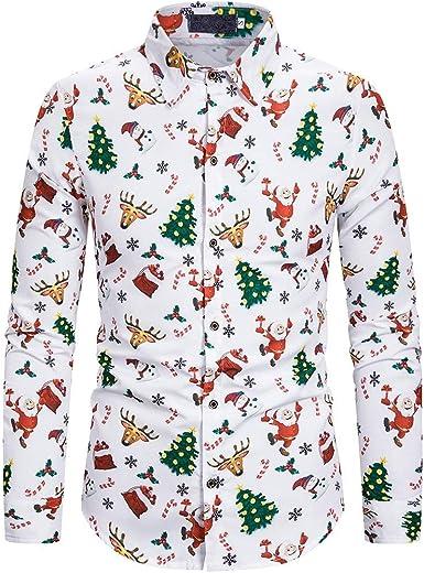Luckycat Camisas de Navidad para Hombre Camisas Feas de Navidad ...